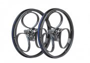 wheelchair loopwheels -black with light blue logos